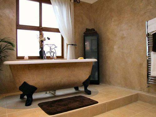 Фактурная штукатурка в ванной